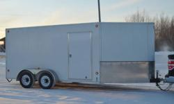 2010 Cargo Trailer. Aprox 7x14 + V nose, over 6' Tall inside. Dual axle, brake system. Back drop down ramp door and side man door. For more information reply or call Byron. Located in Hay River