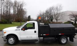 Make Ford Model F-350 SD Year 2011 Colour White kms 98285 Trans Automatic Stock #: BC0030785 VIN: 1FDRF3G64BEC04013 2011 Ford F-350 SD XLT Dually 2WD Service Truck 12 Foot Flat Deck, 6.2L, 8 cylinder, 2 door, automatic, RWD, 4-Wheel AB, cruise control,