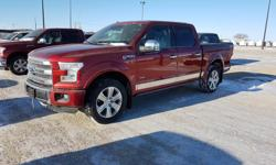 "Make Ford Model F-150 SuperCrew Year 2016 Colour Red kms 32385 Trans Automatic 3.5L V6 Ecoboost, 5 passeger black leather interior, Trailer tow package, Navigation, 20"" wheels, Dual climate control, Remote start, Back up sensors, Back up camera, Power"