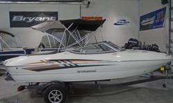 All Standard Features PLUS: Volvo 4.3 200 V6 Orange Hull Graphic Aft Filler Cushion and Seat Twin Sport Buckets with Bolsters Helm Seat Slider, Tilt Steering Stainless Steel Hardware Package Bow and Cockpit Covers Seagrass Flooring Bluetooth Stereo Bimini