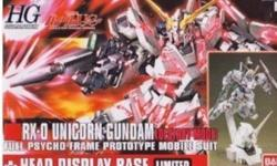 Hi! I am selling a Ban dai 1/144 HGUC RX-0 Unicorn Gundam  (Destroy Mode) With Unicorn Head Model Kit. Official Licensed Gundam Model Kit imported from Japan. This is brand new, unused and unopened kit. Pictures attached on how it looks when it is already