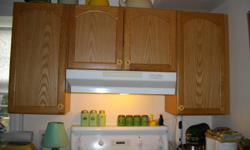 "COMPLETE SET OF OAK KITCHEN CABINETS W/PANTRY AND GLASS CORNER CABINET.MINT CONDITION,INCLUDES COUNTER AND KITCHEN SINK.FRIDGE W/ICE MAKER/WATER,30"" HOTPOINT STOVE,BUILT IN DISH WASHER.ITEMS 5 YRS OLD.CABINETS MUST BE REMOVED BY BUYER.ITEMS AVAILABLE"
