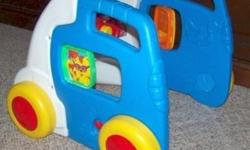 * Very Fun Walker * Looks like a vehicle * Moving Steering Wheel, Adjustable Side view Mirror and Horn * Pretend Cell Phone and Holder * Cleaned and comes from smoke-free home * Great even after they learn to walk, toddlers like to pretend they are