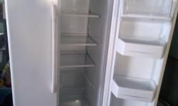 white in color side by side fridge and freezer