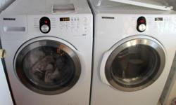 High end Samsung front loading washer and dryer complete set with an additional shoe rack. They have Steam and sanitize options I have purchased these machines about 6 months ago and they have a 10 year warranty through sears I have used them a few times