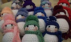 Totally Handmade Christmas Gifts No small parts, non toxic, and just waiting for your little ones hugs!!! I can make in any colour requested snowmen 4.00 (great for stocking stuffer or on a gift) dolls 10.00 (small) 15.00 (large) puppies 7.00 puppy
