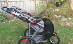A good solid safe reliable jogging stroller from a non-pet, non-smoking household. Perfect for jogging and off-roading due to large spoked wheels. Also has built in speakers with aux jack.