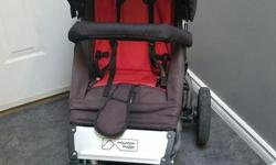 "Great 3 wheel slim jogging or off roading stroller. Comes with fleece liner, bumper bar, parent drink holder, adjustable handle, one foot break. Leather handle cover. One-Hand fold with automatic frame lock; folds to just 28"" x 23"" x 12"" and adjustable"