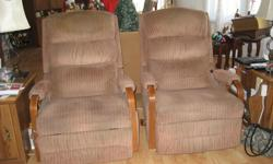 These chairs are for you if you have limited space and the arms are not bulky. They both rock and recline but one needs an adjustment to get the foot rest dowm. The foot rest has 3 positions for your personal comfort, and you can easily seep in these
