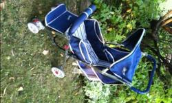 transcona near regent av and owen st, stroller adjusts for sitting or laying down. folds for storage or putting in car.