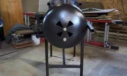 "Made from an expired 100lb propane tank, takes large wood up to 36""long, solid welded metal base, 5"" stove pipe, painted in high temp stove paint. Map shows wrong, I am located in Stanley, on hwy 236 by Atwood Road."