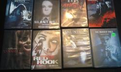 Various Horror DVDs for sale $5 D Paranormal Entity Silent Hill The Hills have Eyes Unrated 30 Days of Nights The Conjuring - Annabelle Red Hook - the hunt is on Unrated Haunting - Haunting in Georgia The Marked Ones The Purge Drag Me To Hell One Missed