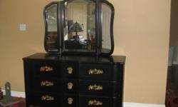 I have a beautiful Victorian black dresser with mirror. The dresser is 35 inches in height and it is 60 inches wide and 21 inches deep. No scratches as it was recently refurbished. Smoke free home. It has the original hardware in solid brass. Top quality