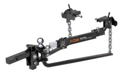 CURT MV Round Bar Weight Distribution Hitch Kit #17062 Levels tow vehicle and trailer by distributing a portion of the tongue weight Includes a sway control kit #17200 to help reduce trailer sway Equipped with round, forged steel spring bars for reliable